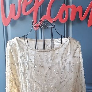 Sequins creamy vintage dress women size small